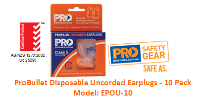 PROCHOICE EPOU-10 PROBULLET DISPOSABLE UNCORDED EARPLUGS - 10 PACK