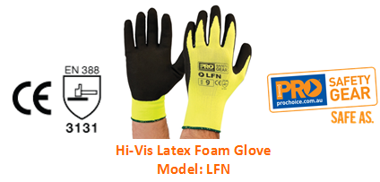 PROCHOICE LFN HI-VIS LATEX FOAM GLOVE