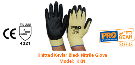 PROCHOICE KKN KNITTED KEVLAR BLACK NITRILE GLOVE