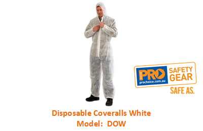 PROCHOICE DOW DISPOSABLE COVERALL WHITE