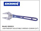 "KINCROME K040053 LIGHTWEIGHT ADJUSTABLE WRENCH 250MM (10"")"