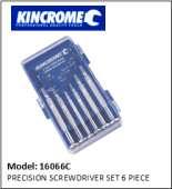 KINCROME 16066C PRECISION SCREWDRIVER SET 6 PIECES