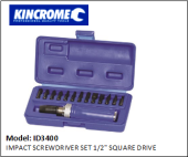 "KINCROME ID3400 IMPACT SCREWDRIVER SET 1/2"" SQUARE DRIVE"