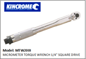 "KINCROME MTW200I MICROMETER TORQUE WRENCH 1/4"" SQUARE DRIVE"