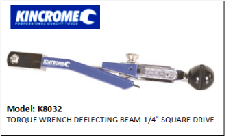 "KINCROME K8032 TORQUE WRENCH DEFLECTING BEAM 1/4"" SQUARE DRIVE"