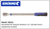 "KINCROME K8182 MICROMETER TORQUE WRENCH 1/2"" SQUARE DRIVE MAGNIFIED SCREEN"