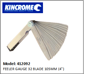 "KINCROME 412092 FEELER GAUGE 32 BLADE 105MM (4"")"