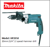 MAKITA HP2050 20mm (3/4'') 2 speed Hammer drill