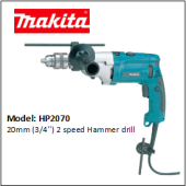 MAKITA HP2070 20mm (3/4'') 2 speed Hammer drill