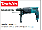 MAKITA HR2611FT Rotary Hammer Drill with Quick Change Chuck 240V