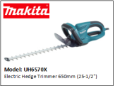 "MAKITA UH6570X Electric Hedge Trimmer 650mm (25-1/2"")"
