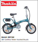 MAKITA BBY180 18V Cordless Motor Assisted Bicycle