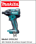 MAKITA DTD129Z 18V Mobile Brushless Impact Driver