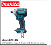 "Makita DTD147Z 1/4"" Cordless Impact Driver with Brushless Motor"