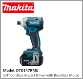 "MAKITA DTD147RME 1/4"" Cordless Impact Driver with Brushless Motor"