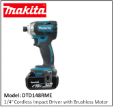 "MAKITA DTD148RME 1/4"" Cordless Impact Driver with Brushless Motor"