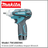 "MAKITA TW100DWE 9.5MM (3/8"") CORDLESS IMPACT WRENCH"