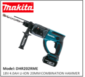 MAKITA DHR202RME 18V 4.0AH LI-ION 20MM COMBINATION HAMMER