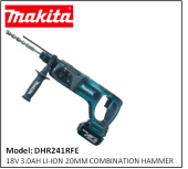 MAKITA DHR241RFE 18V 3.0AH LI-ION 20MM COMBINATION HAMMER