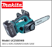 MAKITA UC250DWB 36V LI-ION 250MM CHAIN SAW