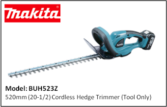 MAKITA BUH523Z 520mm (20-1/2) Cordless Hedge Trimmer